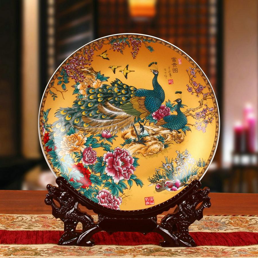 Jingdezhen Ceramic Works Enamel PEONY Peacock Plate Decoration Plate 58 Craft Decorations And Ornaments