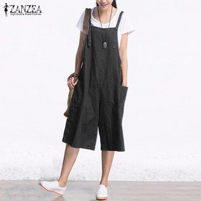 07cad00f20c ZANZEA Rompers Womens Jumpsuit Summer Autumn Sleeveless Fashion Wide Leg  Pants Denim Calf Length Vintage Overalls