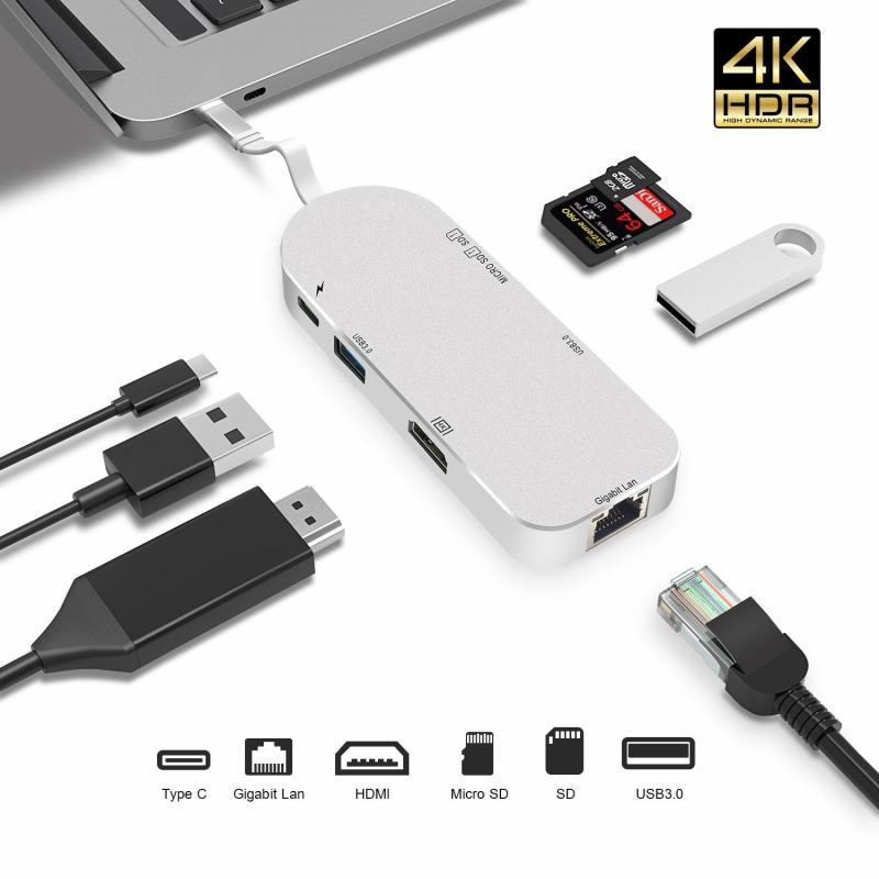 [SG Seller] USB C Hub Adapter 7 in 1 With [4K HDMI] [1Gbps Gigabit Ethernet Port] [SD TF Card Reader] [2 USB-3.0 Ports] for MacBook MateBook ChromeBook MateBook NoteBook and More [Local Warranty]