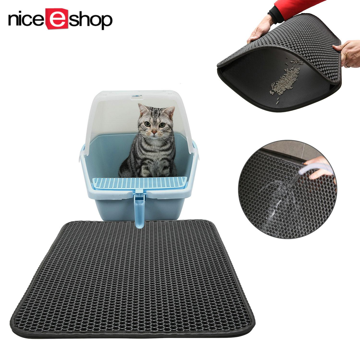 Niceeshop Water-Proof Cat Litter Mat Double-Layer Honeycomb Cat Feeding Mat Litter-Trapping,size 40x50cm By Nicee Shop.