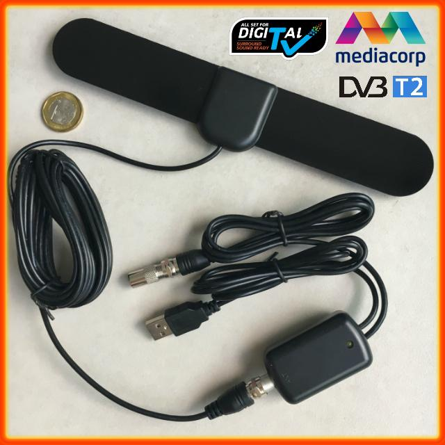 Digital Tv Antenna (5 Meter Cable Length, Flat Type, 30 Dbi, Dvb-T2, Dtv, Usb Powered, Active Indoor, Iec Connector, Uhf, Black) By Kristinehere.