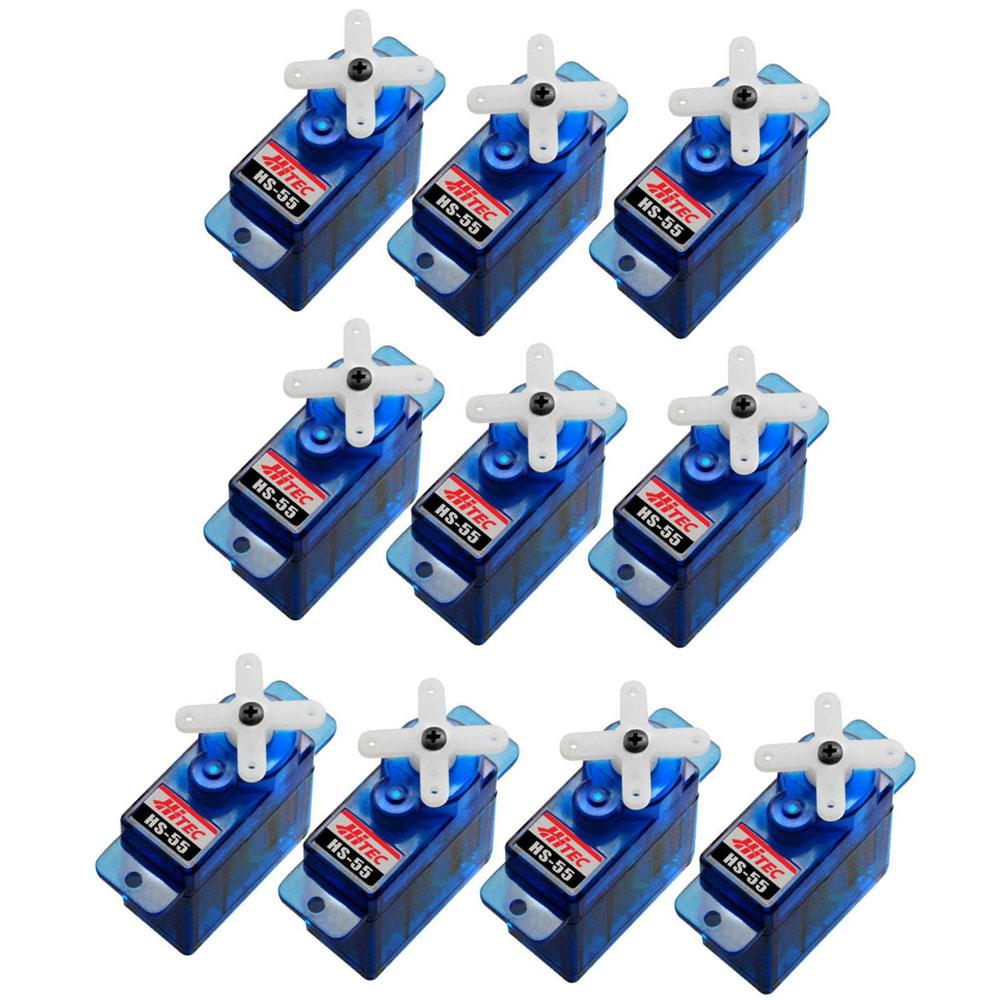 [bulk: Hs-55 X 10pcs] Hitec Hs-55 Economy Feather Servo, 8g [for Smaller R/c Electric Planes, Park Flyers, Gliders Or Helicopters] Hs55 31055 By Solarlights@rotorhobby.