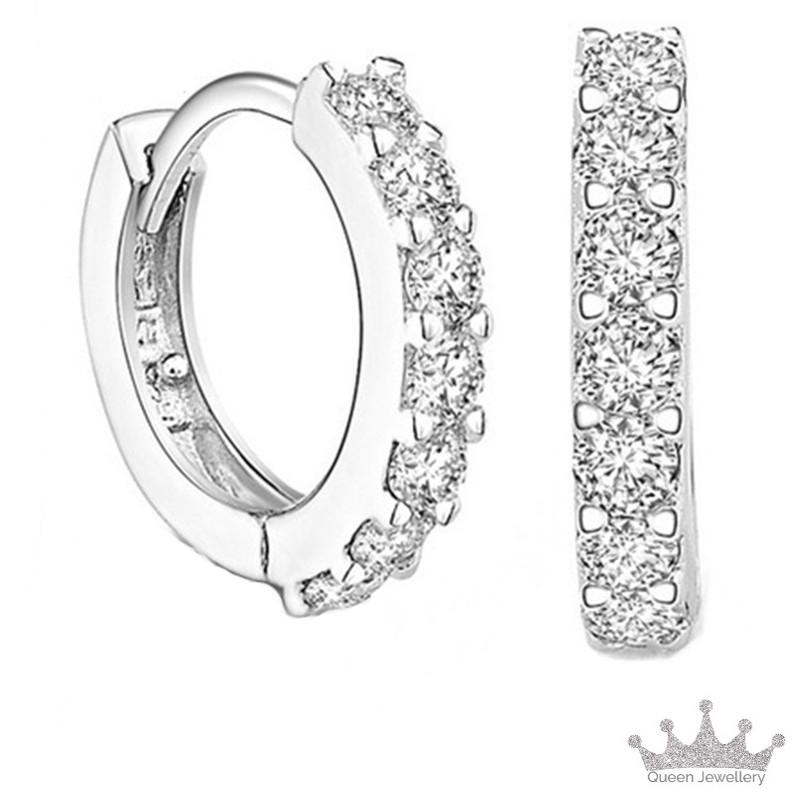 fb0f2680b Queen Jewellery - Earrings Ear Stud - 925 Sterling Silver with Cubic  Zirconia - Exquisite jewellery