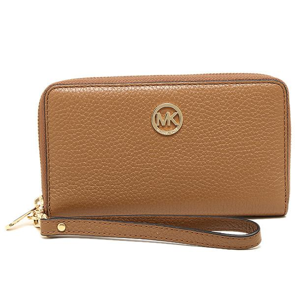 e021cb3c26059 Michael Kors Fulton Large Flat Multifunctional Leather Phone Case Wristlet  Luggage Brown   35H5GFTE3L + Gift