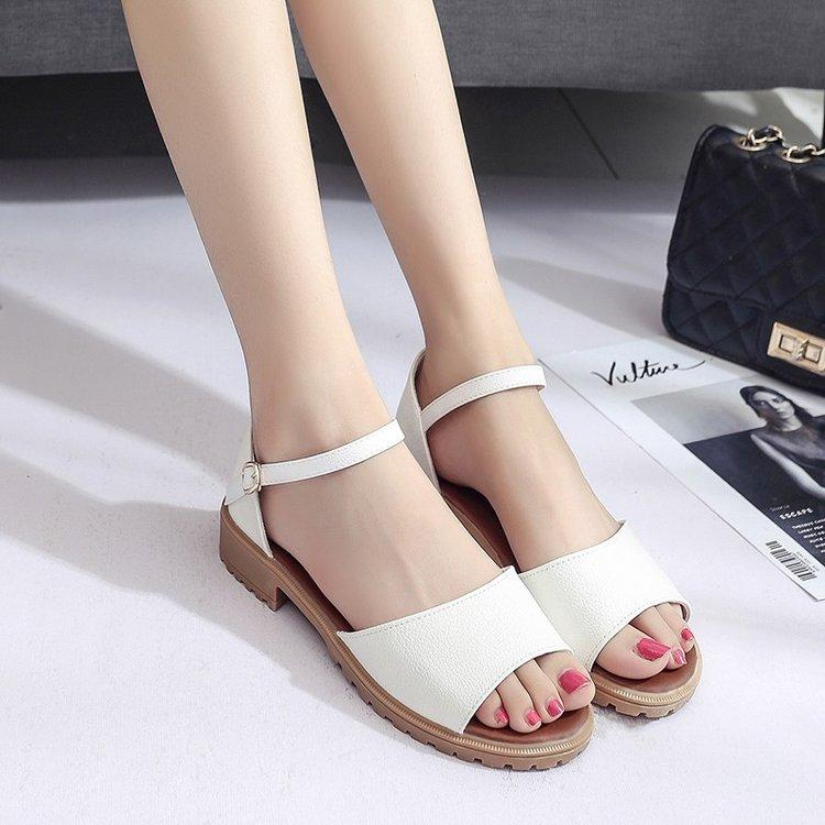 Tendon Anti-Slip Womens Shoes 2019 Korean Style Leisure Bags With Straight-Line Buckle Chunky Heel Shoes Fashion Students Semi-High Heeled Peep-Toe Sandals By Taobao Collection.