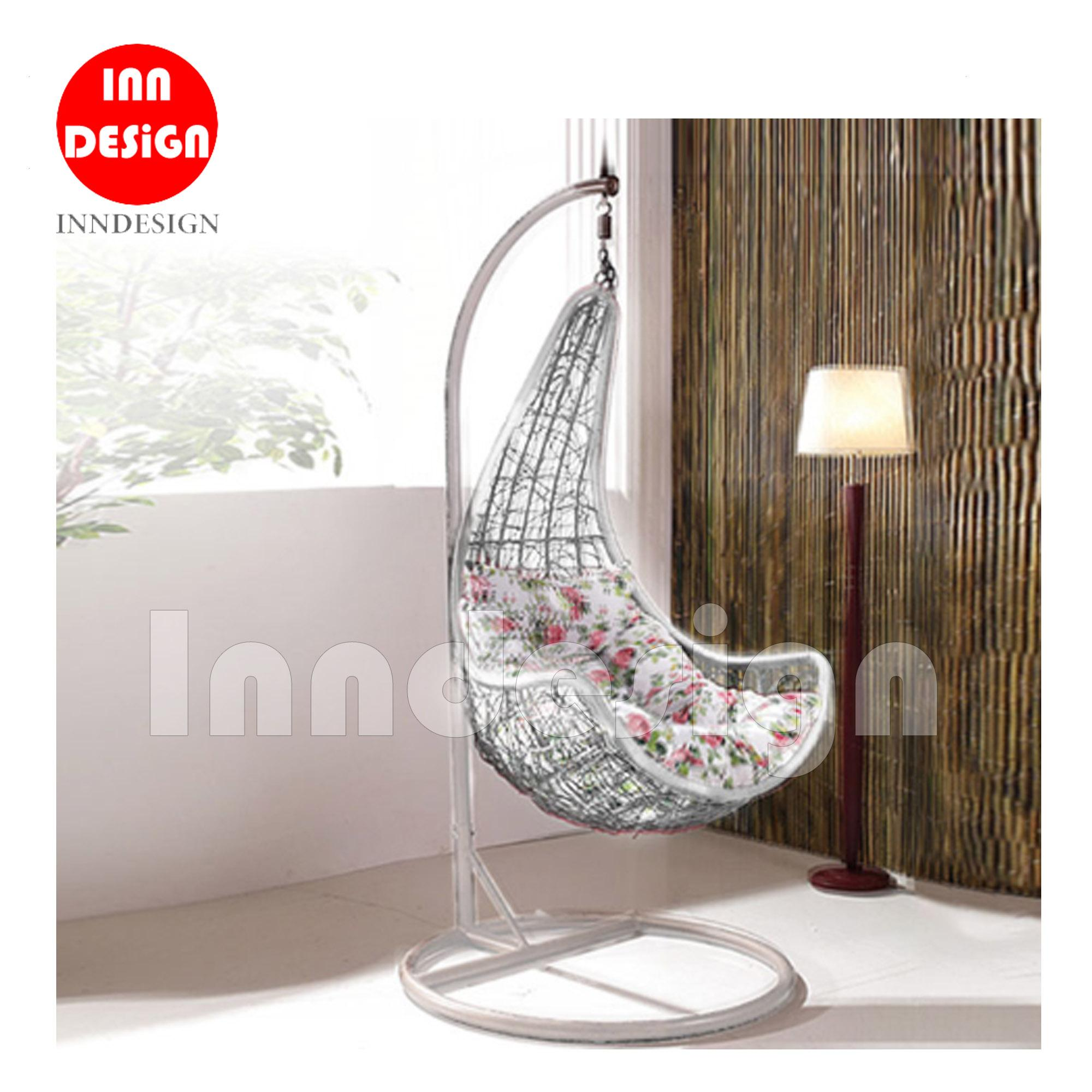 Miki Swing Chair / Lounge Chair / Relax Chair (White + Flower)
