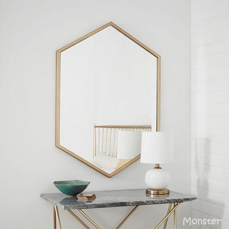 Brass Hexagonal Bathroom Mirror Pure Copper Bathroom Showerroom Makeup Multipurpose Nordic Scandinavian Independent Design Minimalist Home Hotel