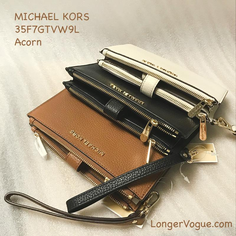 332974342c8fc4 MK Michael Kors wallet Jet Set Travel Ecru Leather Double Zip Wristlet  bifold phone wallet purse