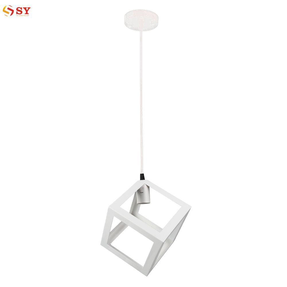 So Young E27 Bulb Cage Guard Ceiling Pendant Square Shade Light Lampshade W/Cable - intl