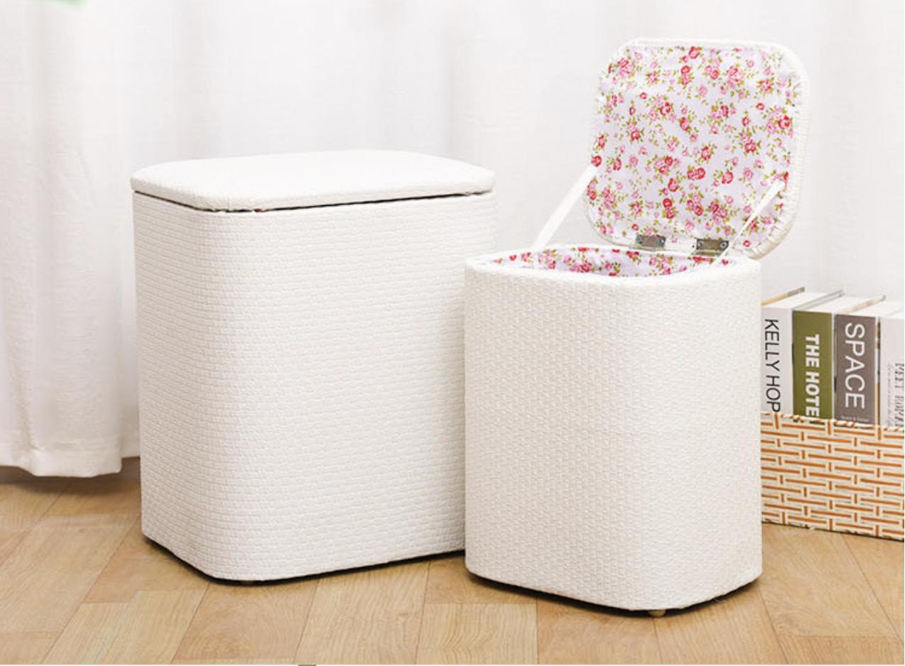 JIJI PU 1+1 Storage Stools (1 Big 1 Small) - Chairs / Sofa / Stools /Storage / Organizer /Furniture (SG)