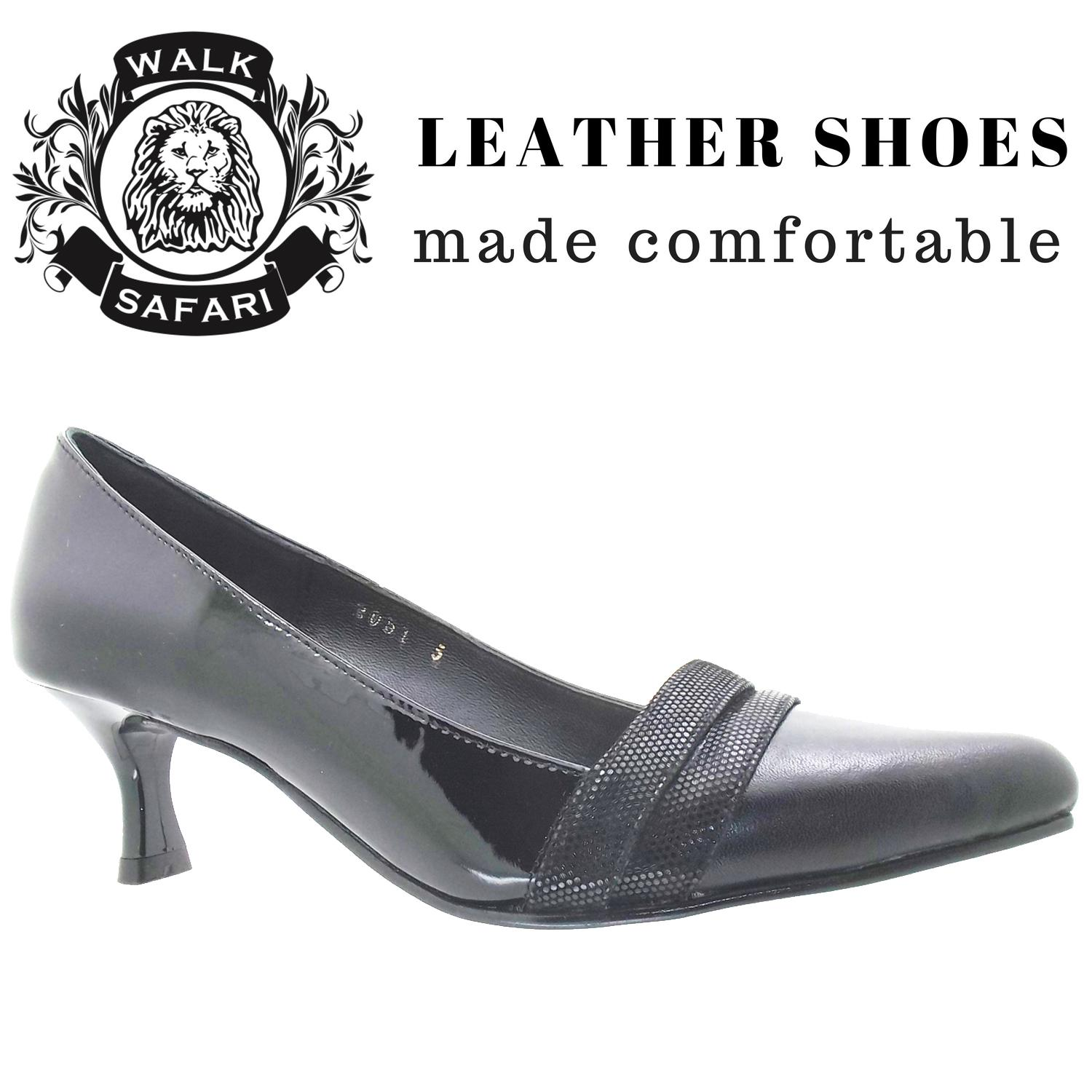 95a7ae9520 [Walk Safari LM2051-1 PT BLACK] Working Ladies Mid Heel Pointed Toe Classic  Leather Shoes
