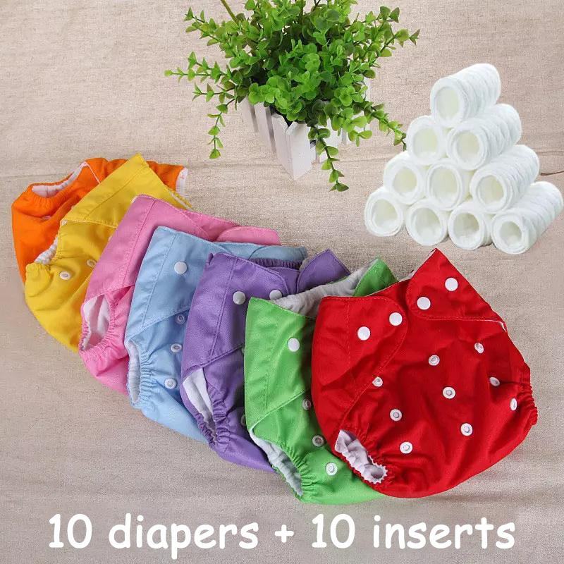 2b7d9f343ad (10 diapers + 10 INSERTS) Cloth Diaper Baby Nappies Diapers Cover Reusable  Washable Cotton