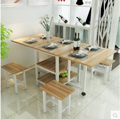 New Style Easy to Table Folding Table Household 4 People 8 People Telescopic Small Folding Dining Table Rectangular Small Apartment Foldable