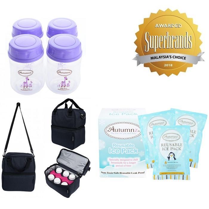Autumnz Posh Breast Milk Storage Solution - Cooler Bag/ice Pack/wide Neck Bottles *5oz/140ml* (4 Bttls) - Bpa Free By Youhaveababy.sg.