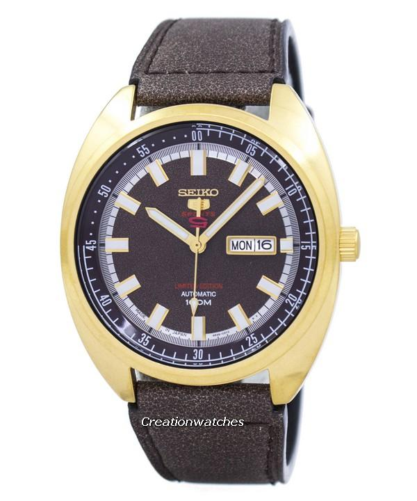 Seiko 5 Sports Automatic Limited Edition Japan Made Men's Brown Leather Strap Watch SRPB74J1