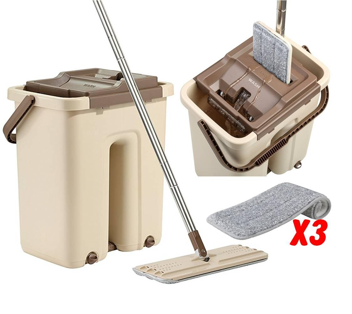Best Rated Self Cleaning And Drying Mop With Bucket 3 Absorbent Microfiber Mop Head Easy On Back Goes Into Tight Place Floor Cleaner Better Than Spin Mop