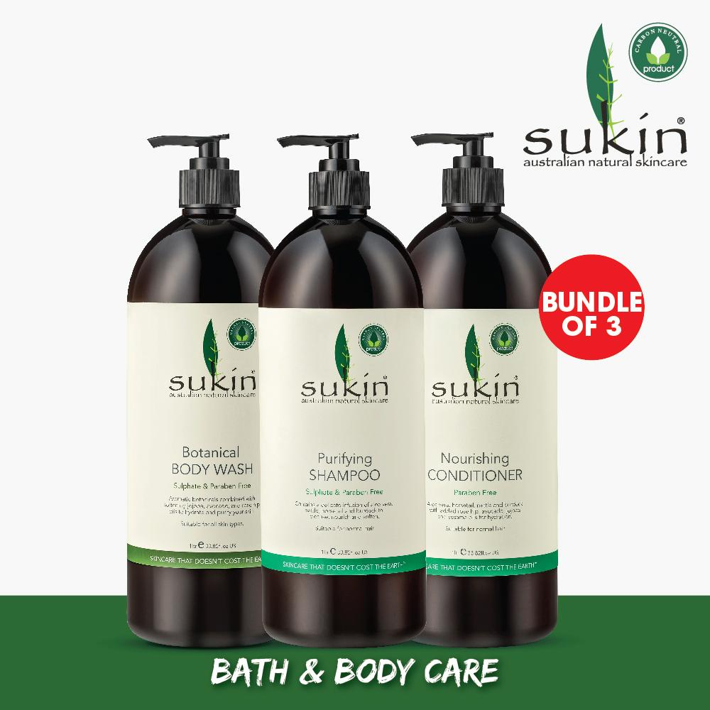[SUKIN ORGANIC] Bundle of 3: Botanical Body Wash 1L + Purifying Shampoo 1L