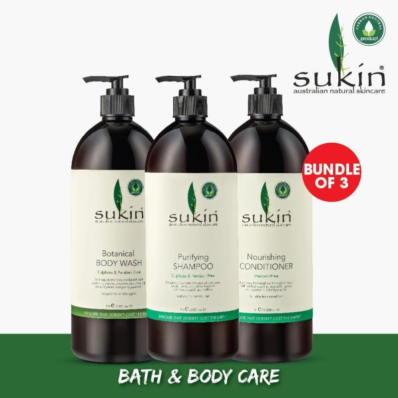 Buy [SUKIN ORGANIC] Bundle of 3: Botanical Body Wash 1L + Purifying Shampoo 1L + Nourishing Conditioner 1L Singapore