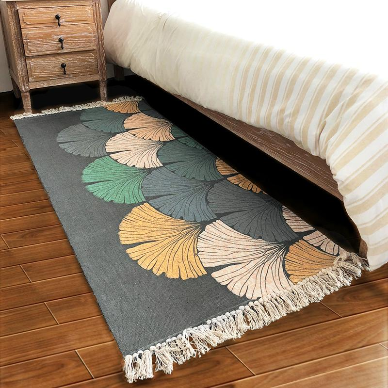 Bedside Bed Rug Bedroom Mat Sub-Mat Strip Square Can Machine Wash Cotton Linen Bedside Tailstock Household Room