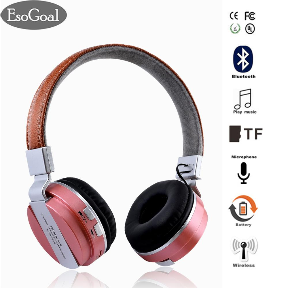 Sale Esogoal Wireless Bluetooth Headphone Foldable Leather Sport Headset With Fm Radio Aux Tf Card Mp3 Smart Phones Tablets Esogoal Branded