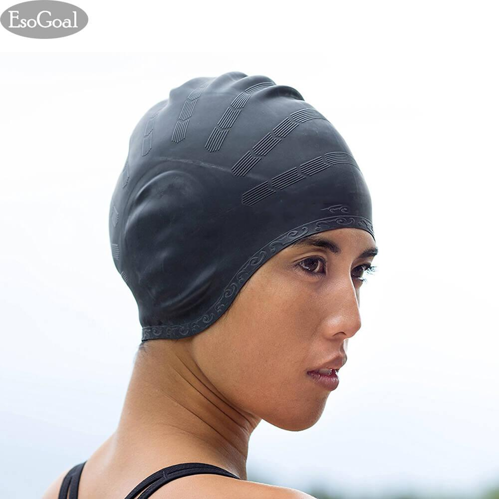 28fb49bb976 JvGood Silicone Swim Caps for Women and Men, Comfortable Swimming Cap Fit  for Adults