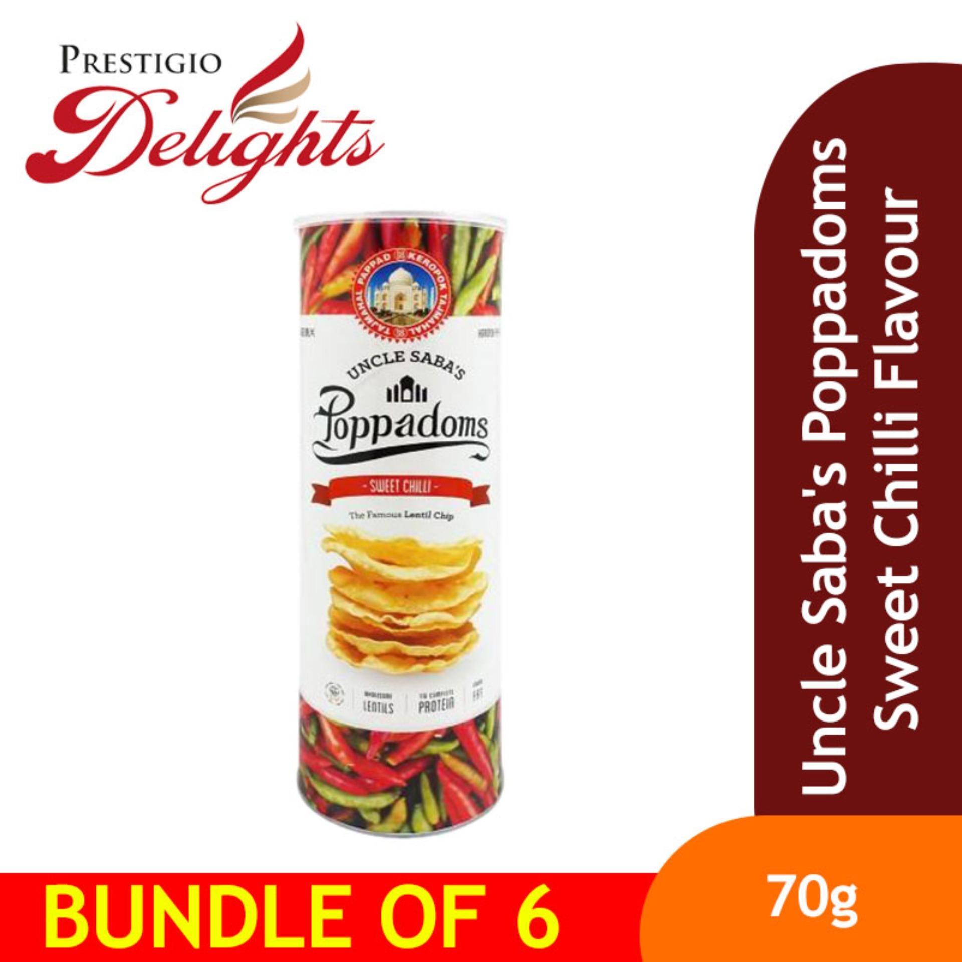 Uncle Sabas Poppadoms Sweet Chilli Flavour Bundle Of 6 By Prestigio Delights.