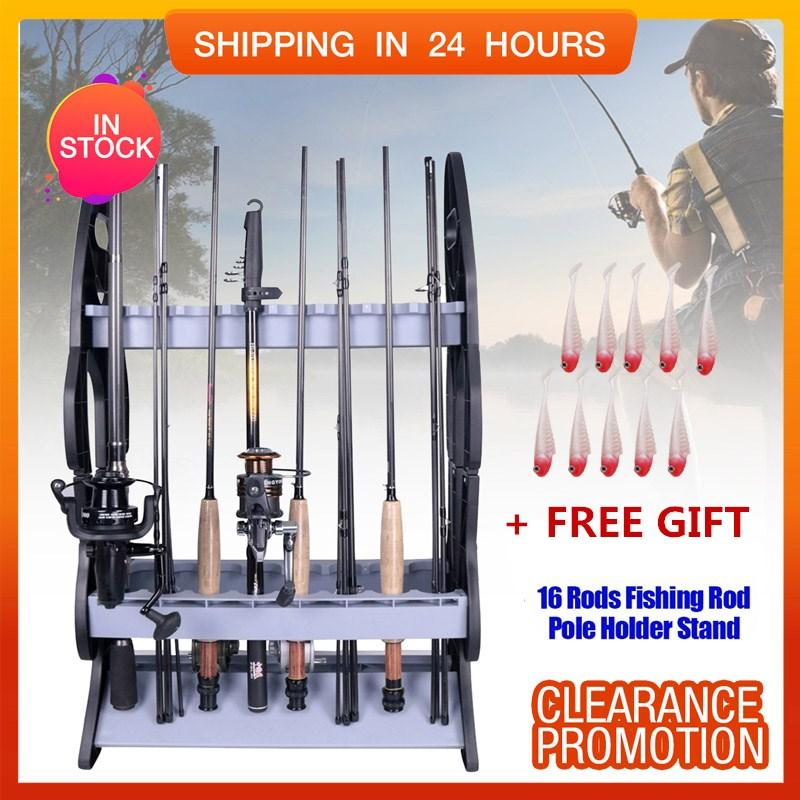 [free Gift] Lightweight Fishing Rod Pole Holder Stand Organizer Rack For 16 Rods - Intl By Highfly.