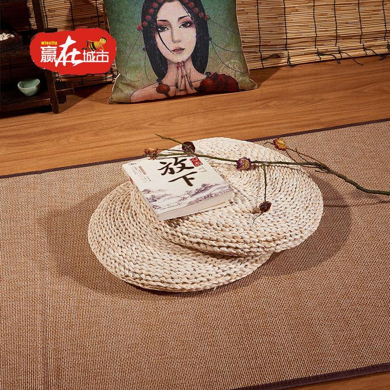 Meditation hand-woven straw thicken throw pillow