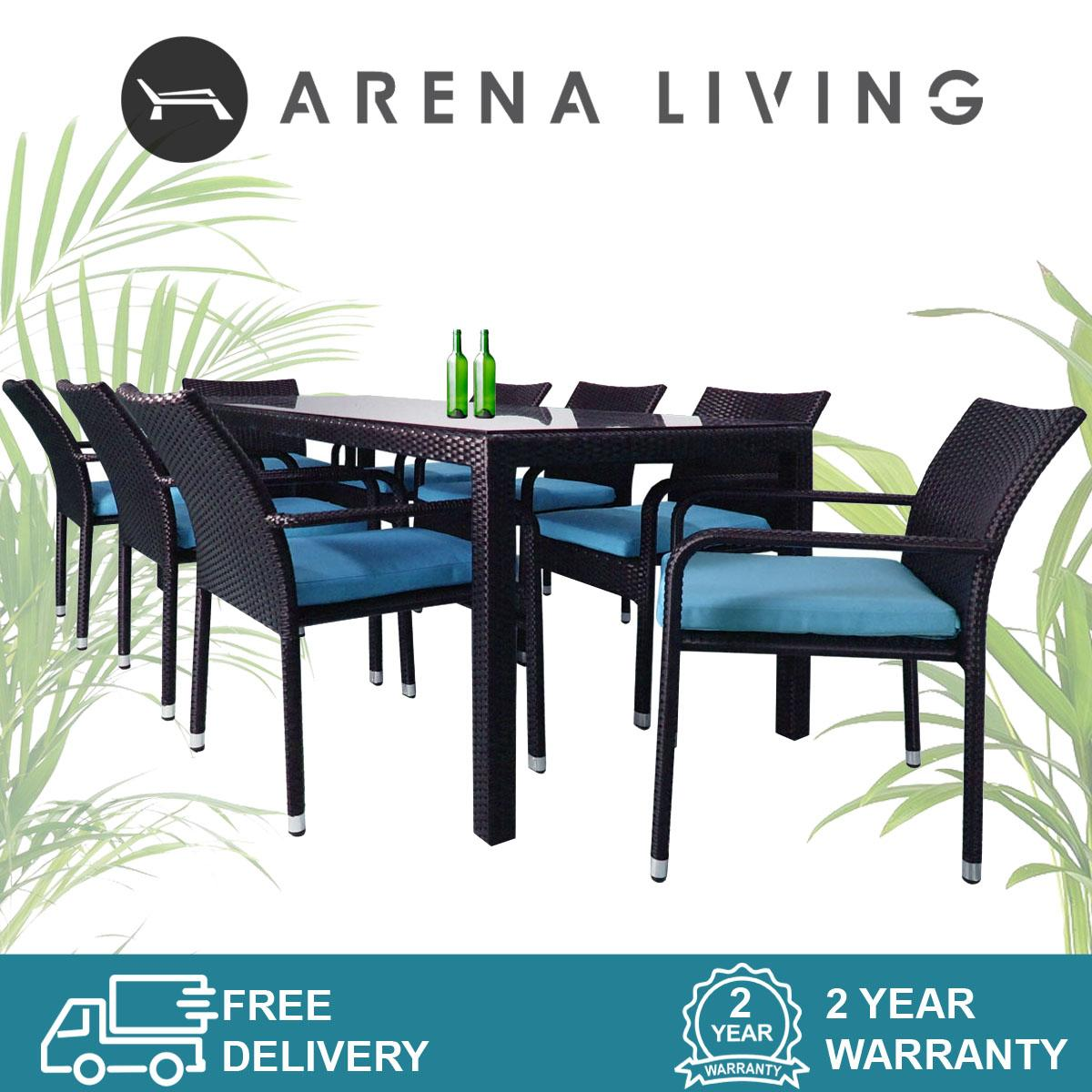 Geneva 8 Chair Dining Set Blue Cushion (2 Year Warranty)