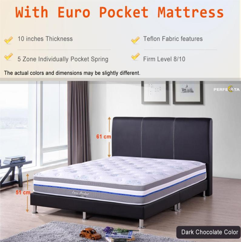 Queen size Bed Frame UN402 and 10 inch Individually Pocketed Spring Mattress - Euro Pocket