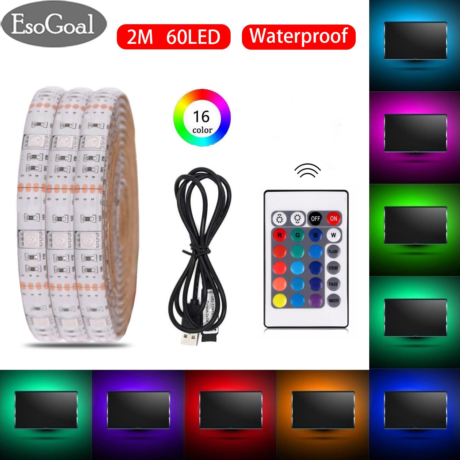 Esogoal Usb Led Strip Light Rgb Waterproof Portable 5050 2m Led Tv Backlight Ip65 60leds Usb Powered Strip With 24keys Remote Controller By Esogoal.