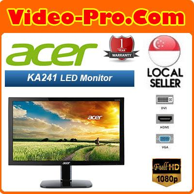 ACER - KA241 - Display Size : 24 Inch Wide. FHD TN Display 1920x1080 Reso / Bluelight Shield Reduce Blue Light / Ergonomic Stand. On Site 1 Year Warranty!