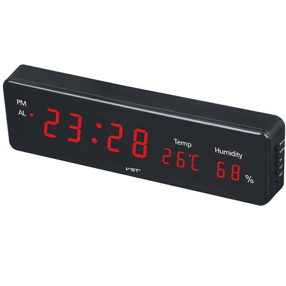 Electronic LED Alarm Clock Wall Clock with Temperature & Humidity Display European Specification 38.5 * 10 * 4.5cm