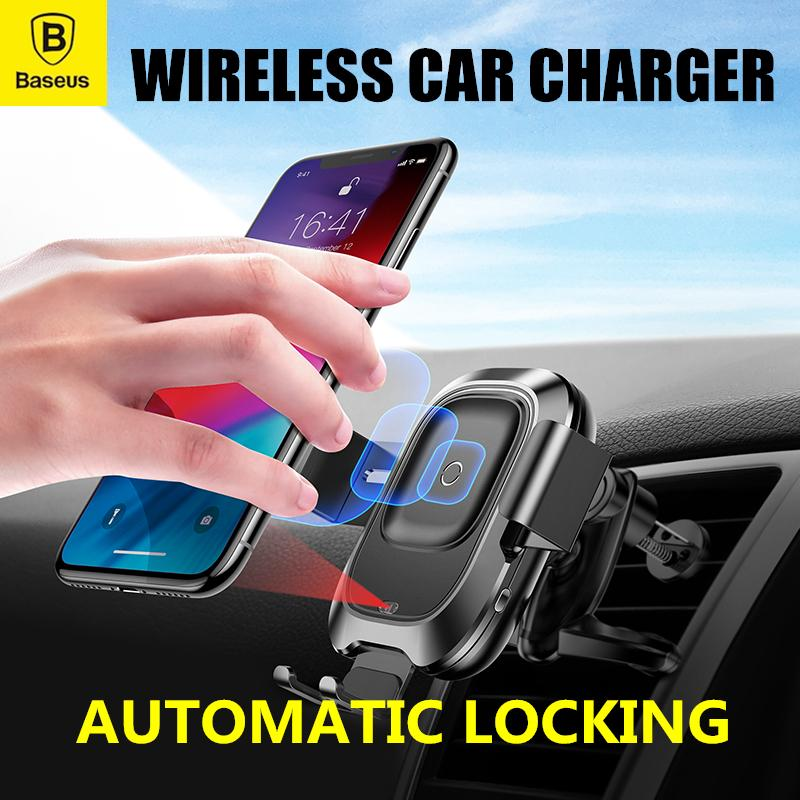 Baseus Smart Automatic Locking Wireless Car Charger Mount Infrared Induction Iphone Samsung Xiaomi Huawei By Gxm Gadgets.