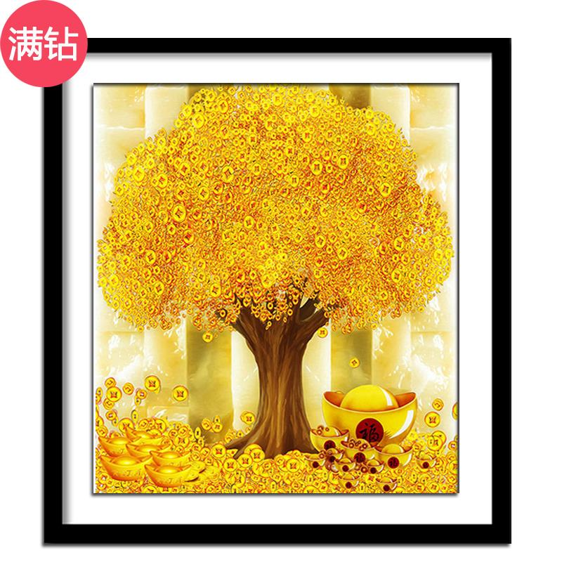 Diamond Painting Full Of Crystals Living Room Bedroom New Style Money Tree Lucky Jbo Diy Cross-Stitch Pachira Stick-On Crystals Painting By Taobao Collection.