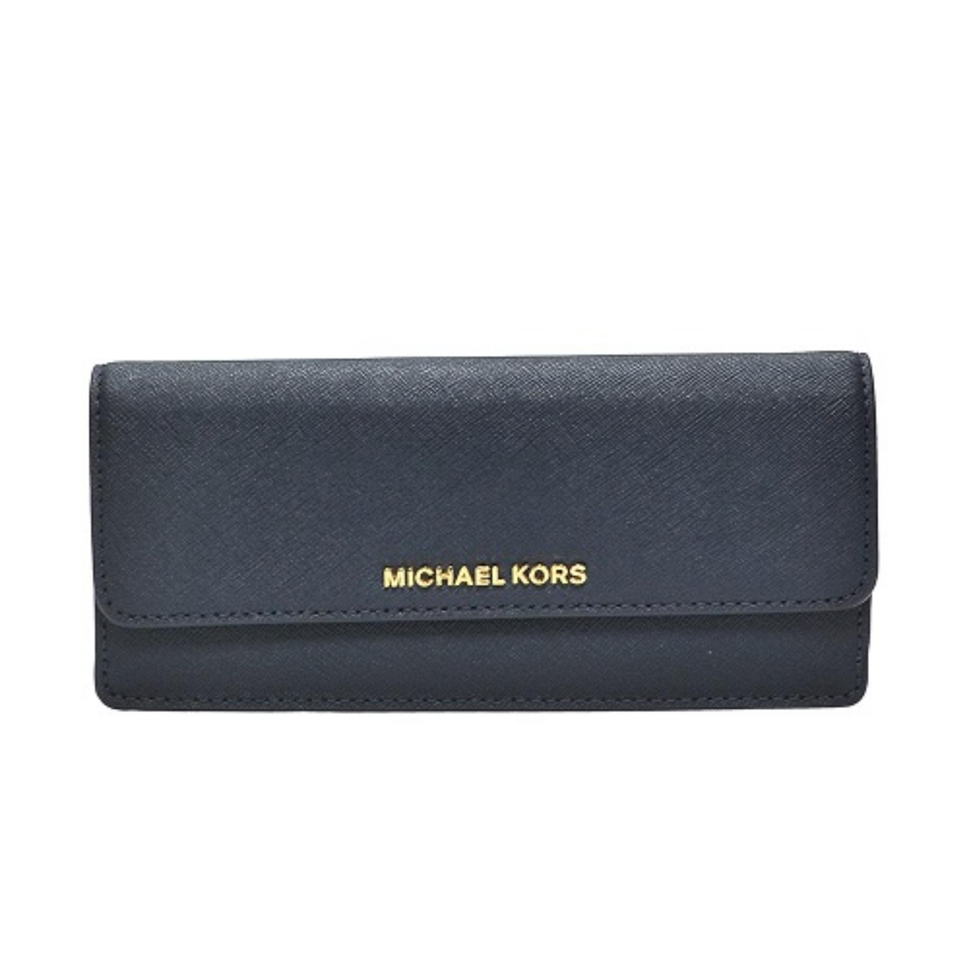 5f6e0275cf2a Michael Kors Jet Set Travel Slim Gold Tone Saffiano Wallet (Admiral)    32F3GTVE7LADMIRAL