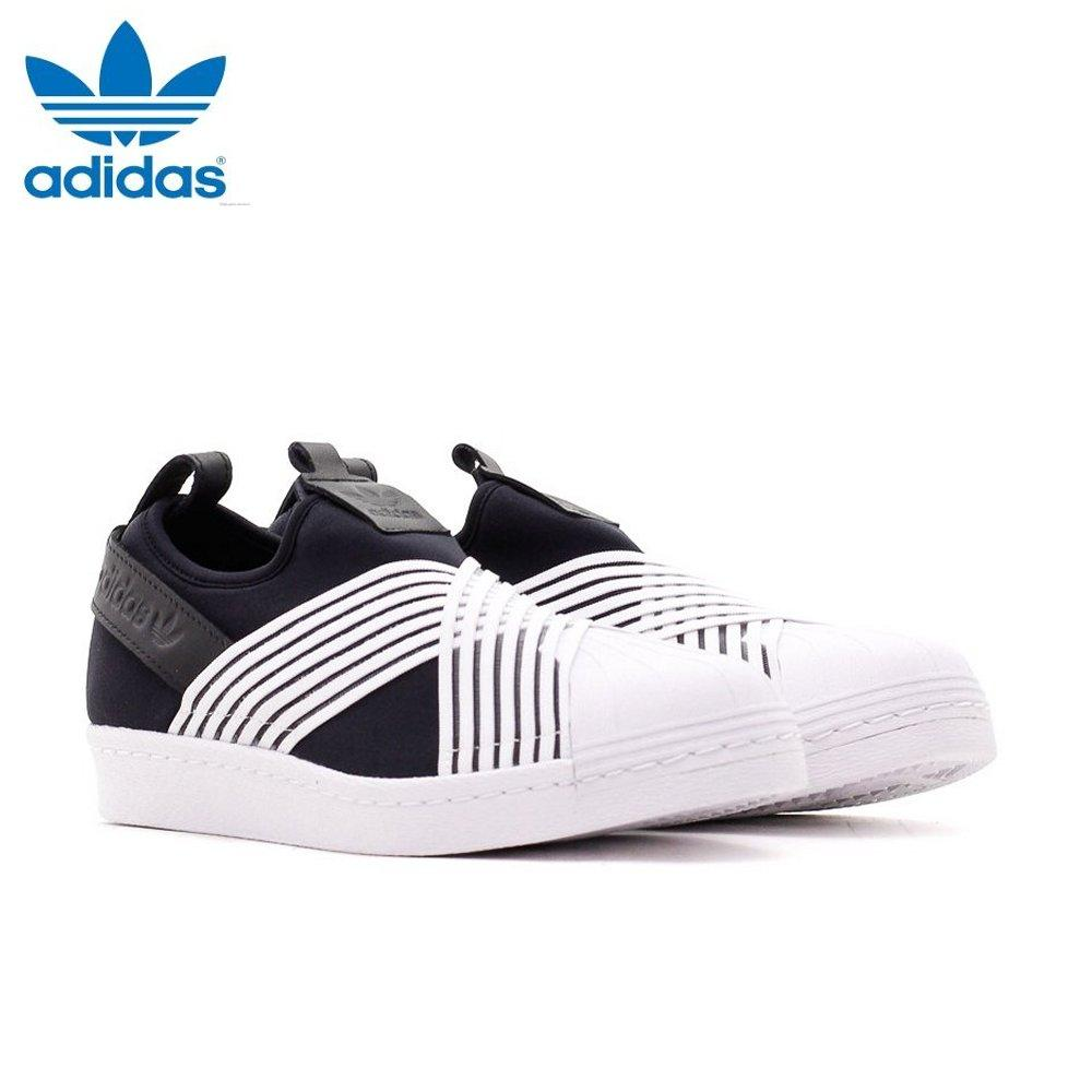 brand new b64f7 16e96 Adidas Women Originals Superstar Slip-on Shoes D96703 Black White 100%  Authentic