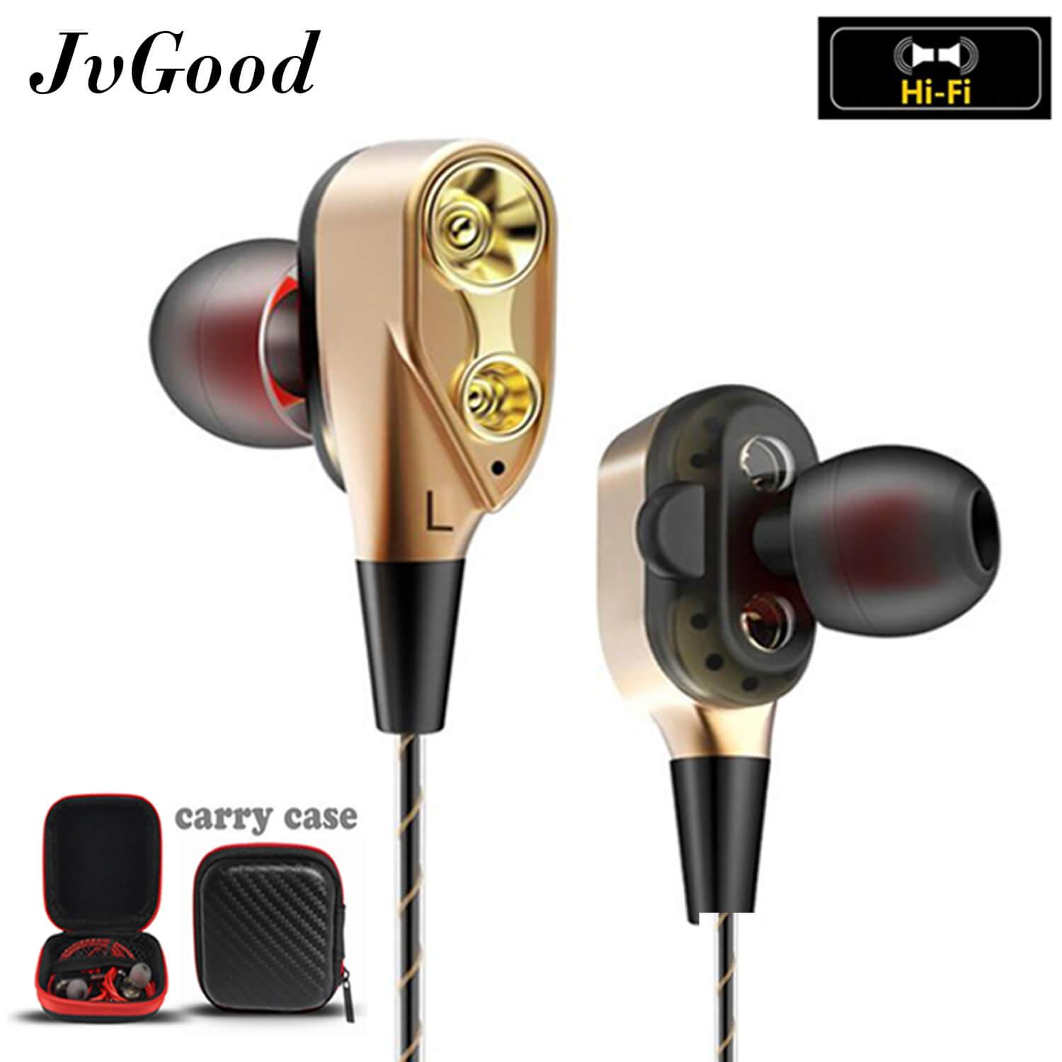 0f9a5ee06a6 JvGood Wired Earbuds In-Ear Stereo Earphones Richer Bass HiFi Stereo Noise  Cancelling Headphones Dual