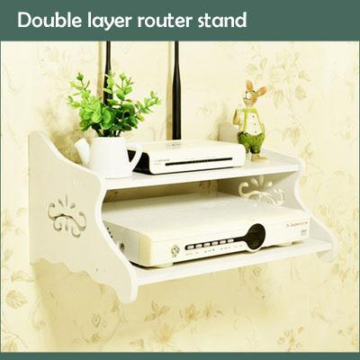 Doube Tier Multi-Functional Router Stand Wall Decoration borad Hanger Shelf TV Controller Holder Home Organizer WDC016 WDC017