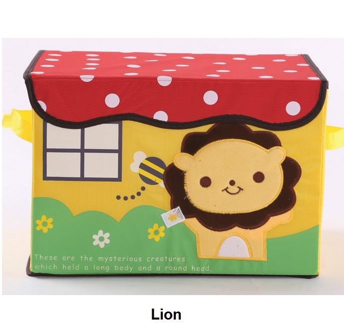 Embroidered Foldable Storage Box for Toys (Lion)