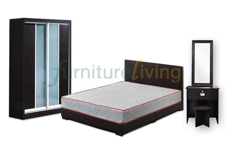 Furniture Living New 4 in 1 Bedroom Set (Bedframe/Wardrobe/Dresser/Stool)