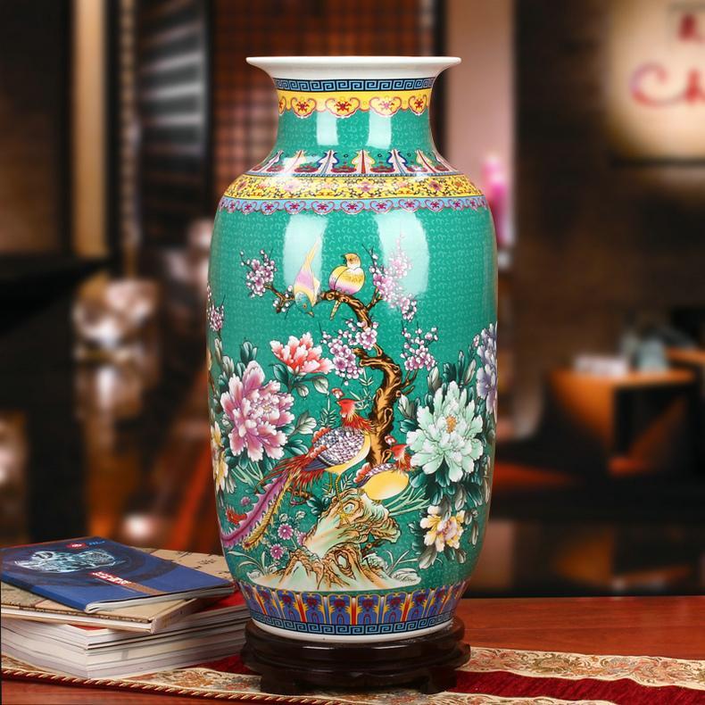 Jingdezhen Ceramic Vase Enamel PEONY Flowers And Birds Phoenix Landing Big Vase 58 Craft Decorations And Ornaments