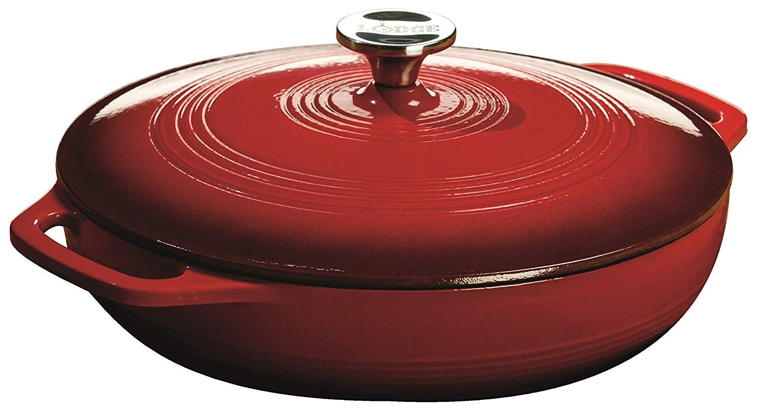Lodge Enameled Cast Iron Covered Casserole, 3.6 Quart / 3.41 Liters By Pots.