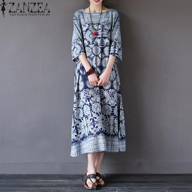 Tops Blusas ZANZEA Women Floral Print Tunic Baggy Shirt Dress Summer Autumn Ladies O-Neck