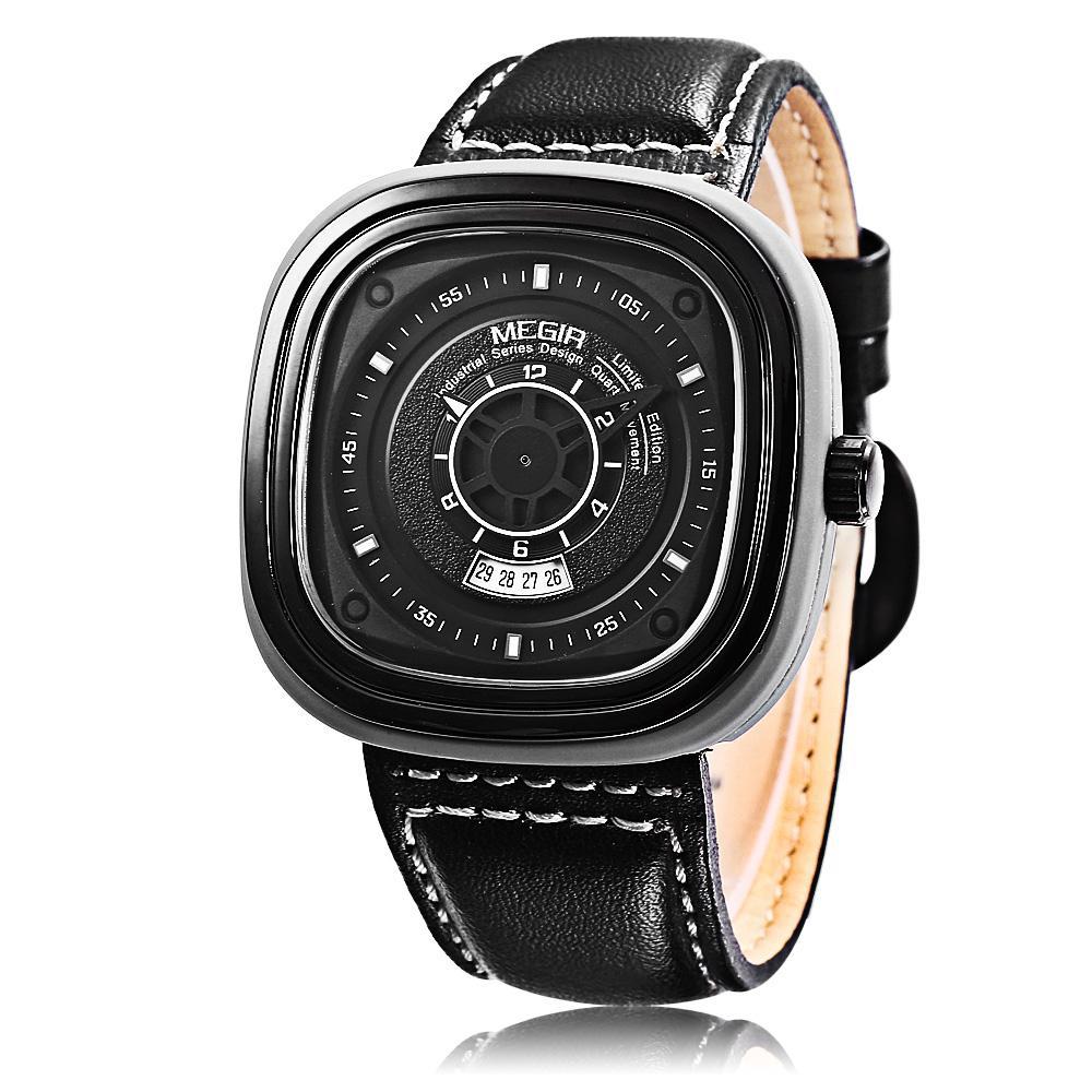 Buy Megir Ml2027 Male Quartz Watch Square Case Calendar Men Wristwatch Intl Cheap On Singapore