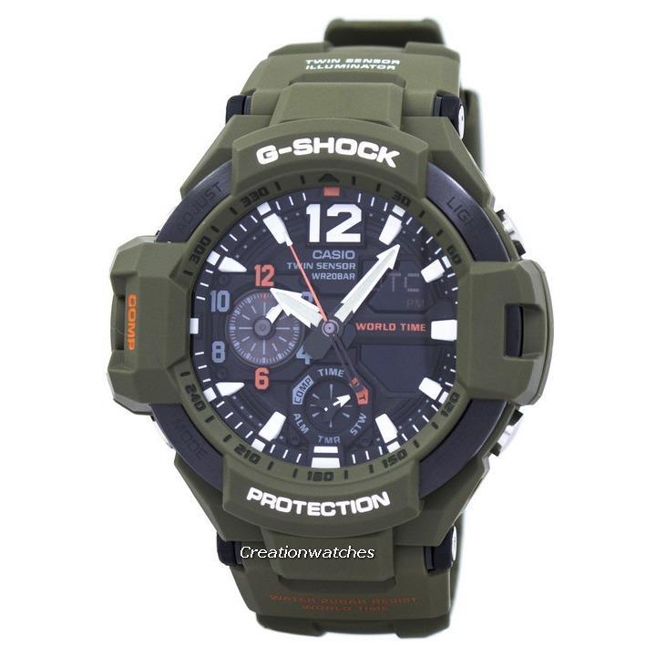 Purchase Casio G Shock Gravitymaster Analog Digital Twin Sensor World Time Men S Green Resin Strap Watch Ga 1100Kh 3A