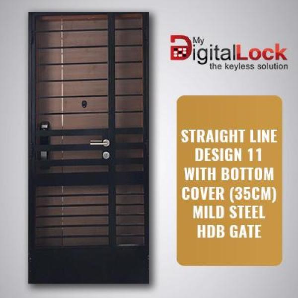 STRAIGHT LINE DESIGN 11 WITH BOTTOM COVER (35CM) MILD STEEL HDB GATE (4 x 7)