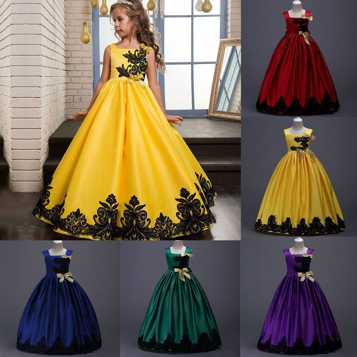Buy Children Kids Girls Formal Occasion Bowknot Flower Dress Wedding Bridesmaid Prom Party Long Skirt Dresses Event Gown Size 120 170 On China