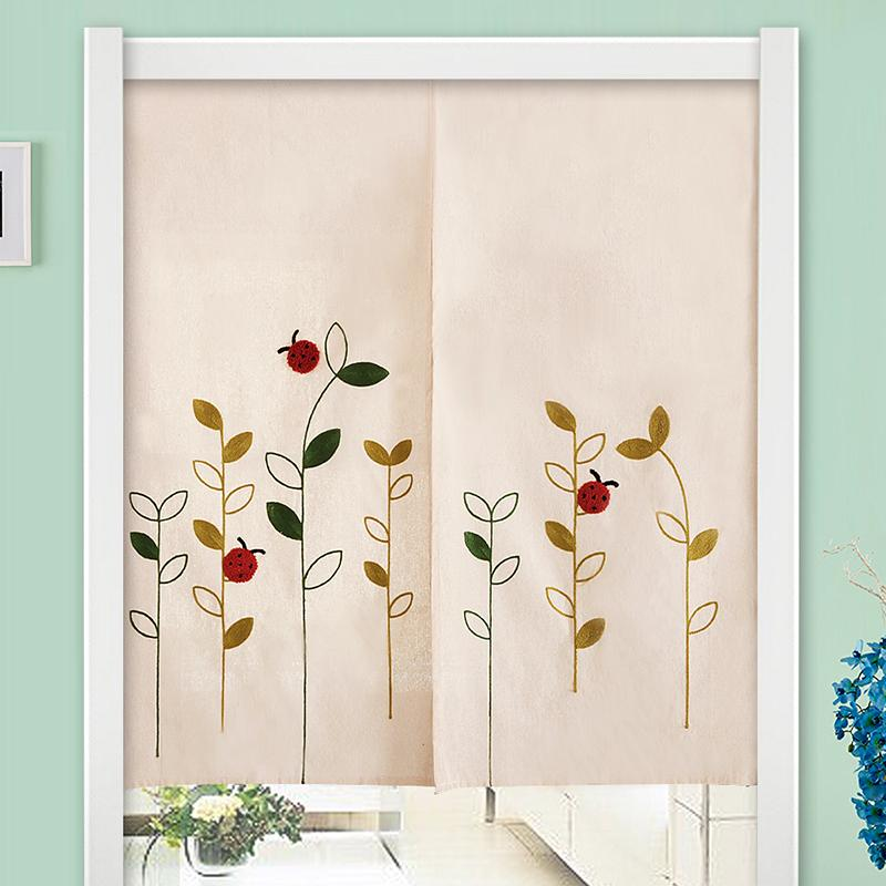 Send Rod Cloth Curtain Garden Cloth Curtain Wind Bath Curtain Partition Bathroom Bedroom Kitchen Half Curtain Japanese Style Every Curtain