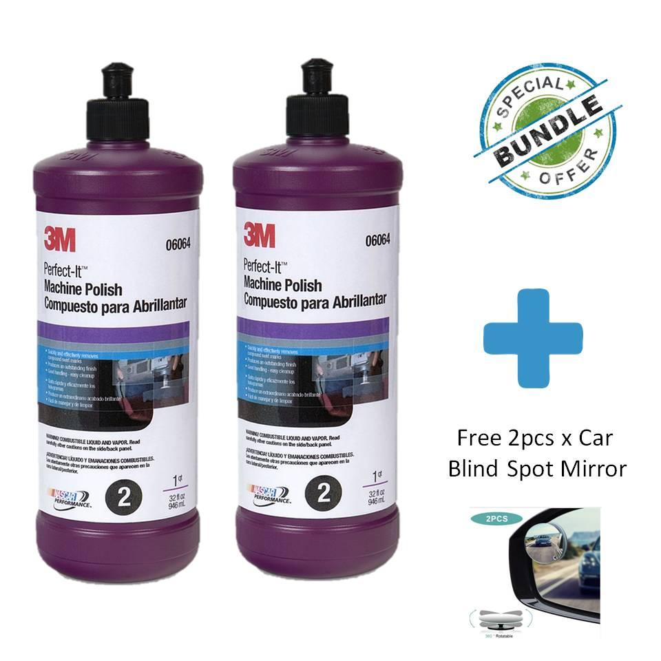 [special Bundle] 2 X 3m Perfect-It Machine Polish, 1 Quart, 06064 + Free Car Blind Spot Mirror By Masstec.